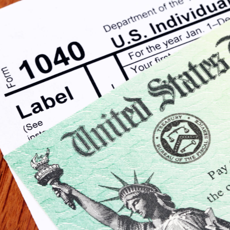 1040 Tax Form and Refund Check
