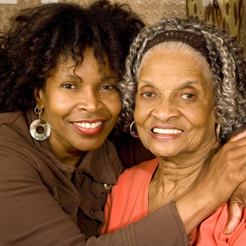 A middle-aged woman and her mother.