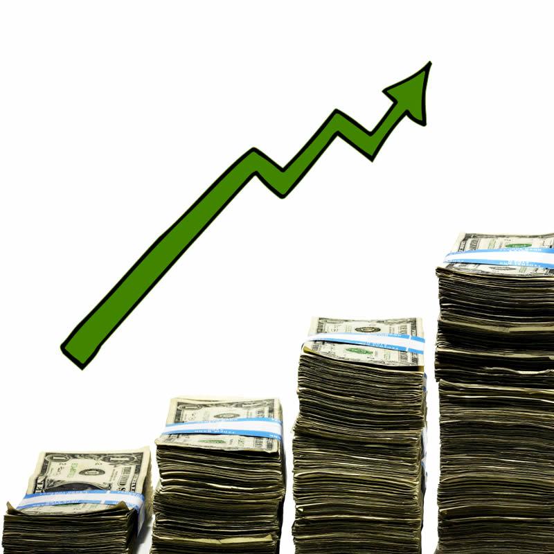 Arrow going upward over increase amounts of stacked bills.