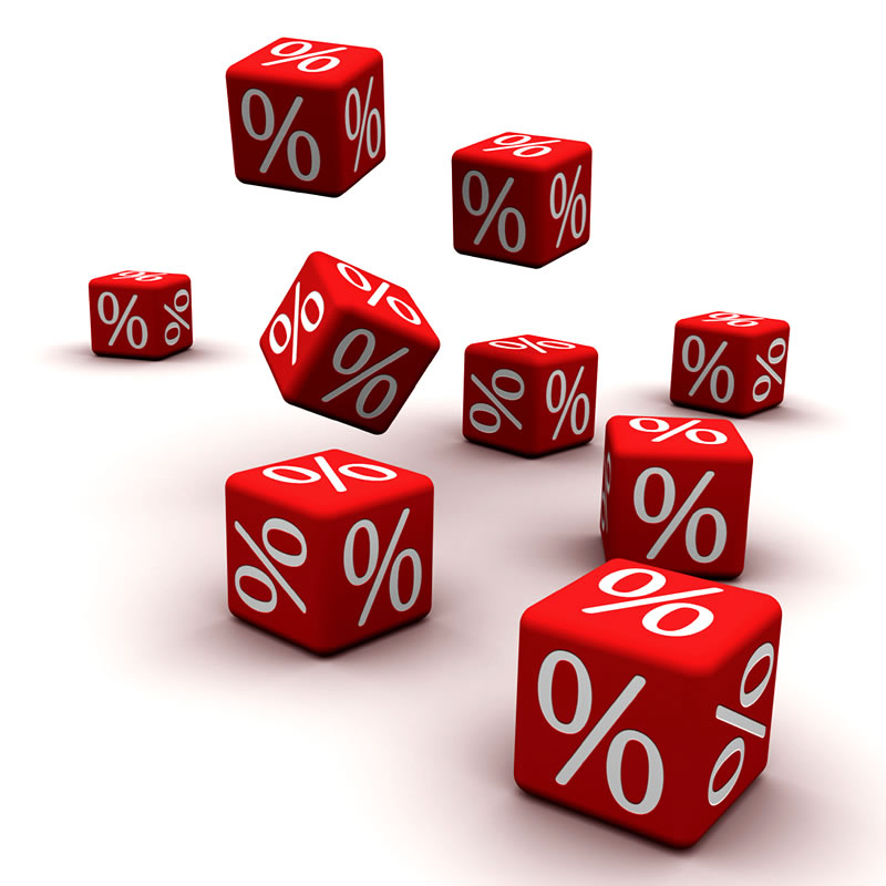 9 red dice thrown with % signs
