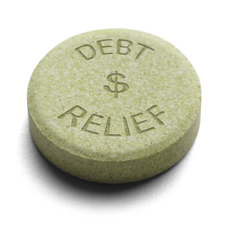 Medication tablet with words DEBT $ RELIEF.