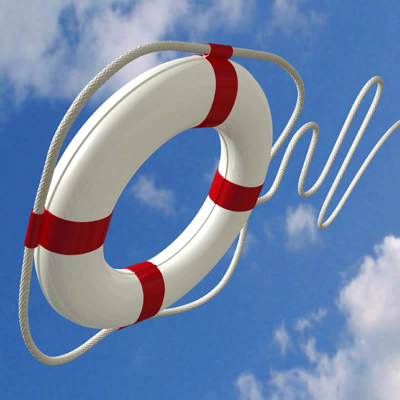 Life Saving Ring thrown in the air. White with bright red stripes.
