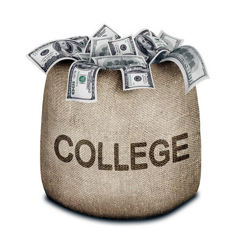 Money overflowing a bag with words COLLEGE on it.
