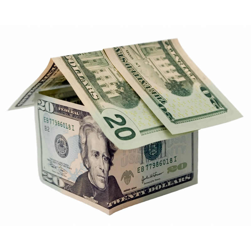 Model house made with $20 bills.