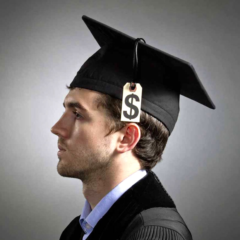 Young man dressed in cap and gown with $ tag hanging as a tassle.