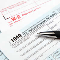 1040 and W-2 tax forms.