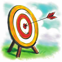 Cartoon of Archery Target with Arrow in Bullseye.