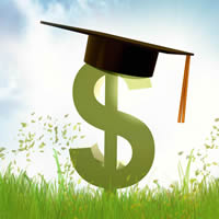 Green dollar sign with graduation cap in a field on a sunny day.