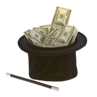 Magician's hat filled with money with wand next to it.