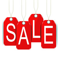 Hanging tags that spell SALE
