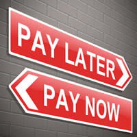 Red Arrow Pointing Right Saying Pay Later, Red Arrow Pointing Left SayingPay Now