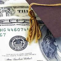 Graduation Cap on top of $100 bill