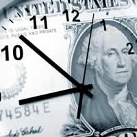 Clock superimposed onto a dollar bill.