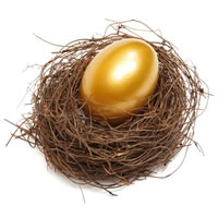 Nest with gold egg in it.