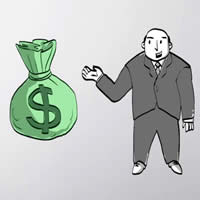 Cartoon, tied green bag with $ on it, man is suit smiling reaching for it.