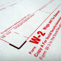 Bottom portion of a W-2 Form.